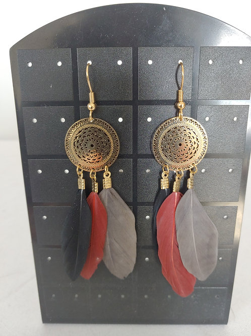 3 colour feathers earring