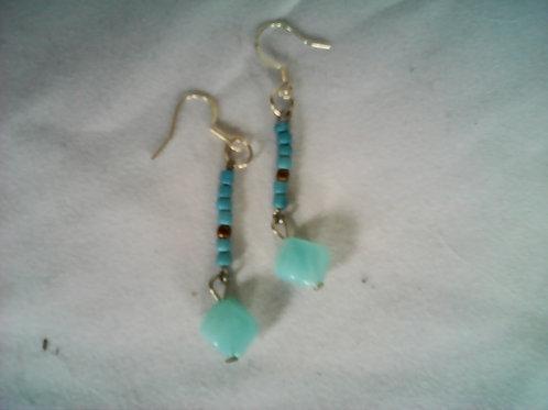 green sea bead earring