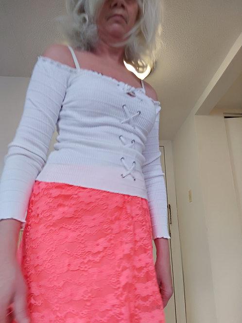 white top & orange lace shirt