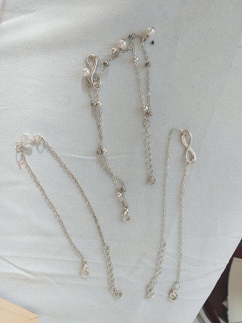 3 ankle bracelet set