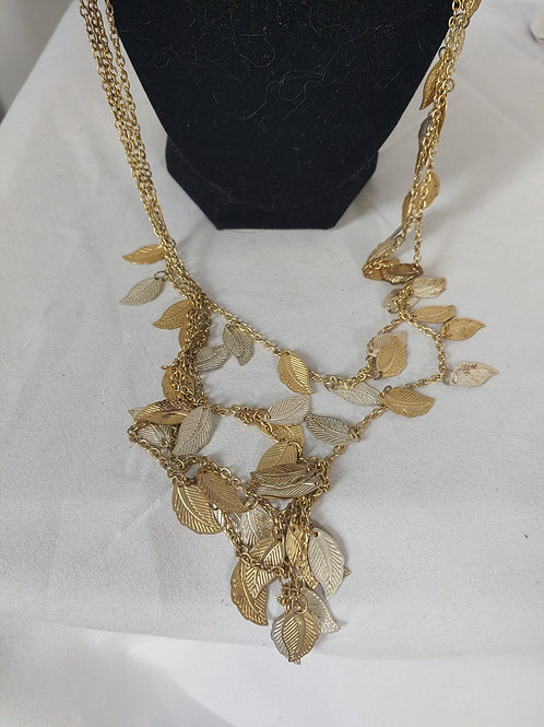 gold plate necklace & gold leaves
