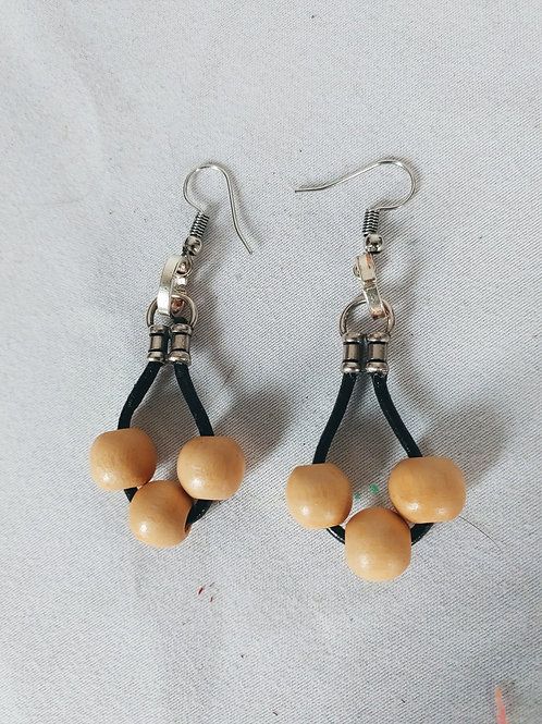 leather earring with round wood beads