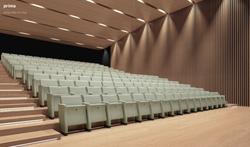 proyecto interiorismo oficina global design hub barcelona 21, sillón plegable anfiteatro