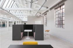 proyecto interiorismo oficina global design hub barcelona 6 meeting rooms acústicos, huddle room