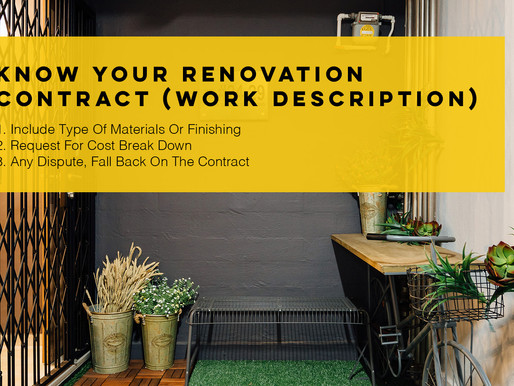 Know Your Renovation Contract (Work Description)