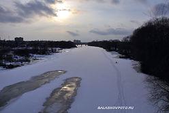 прогулка по Хопру в Балашове, февраль 2014 года. панорама между двумя мостами в Балашове