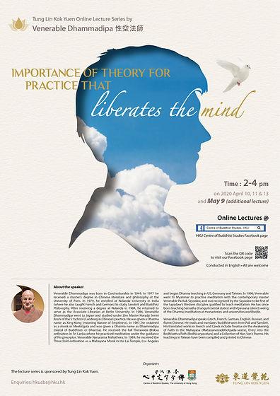 Poster Ven Dhammadipa's online lecture series Apr-May 2020