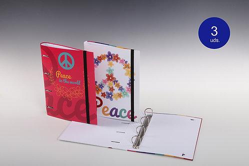 Carpeta Con Mecanismo 4 Aros Exterior, Mixto y Con Goma 'Peace'