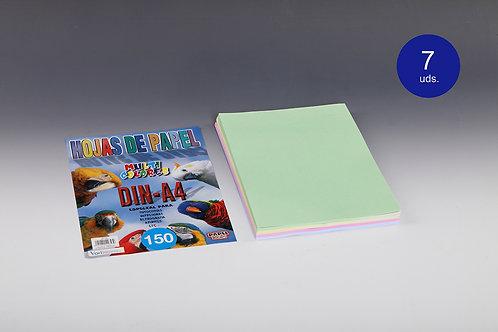 150 Hojas Papel De Colores 80 Gr