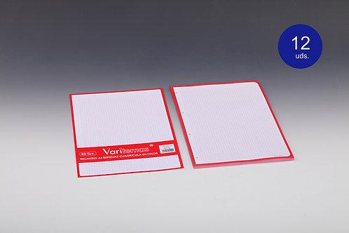 Recambio Cuadricula Rojo Tamaño Folio