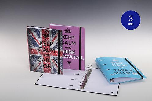 Carpeta Con Mecanismo 4 Aros Exterior, Mixto y Con Goma 'Keep Calm'