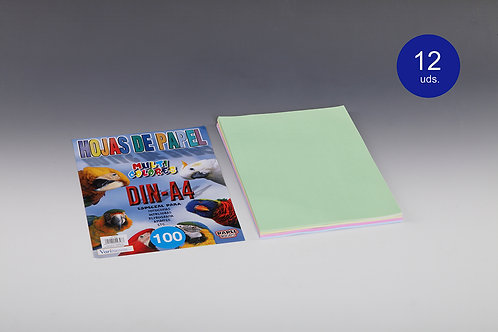 100 Hojas Papel De Colores 80 Gr