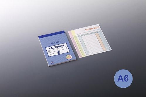 Talonario Facturas A-6 Triplicado 20 Copias