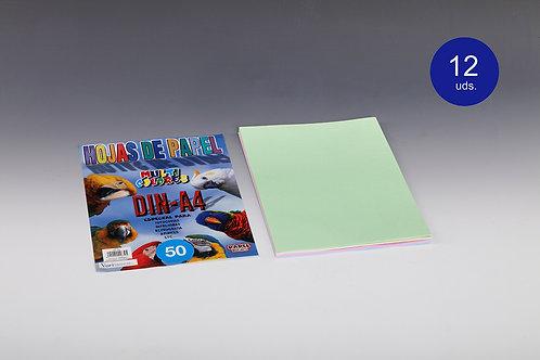 50 Hojas Papel De Colores 80 Gr