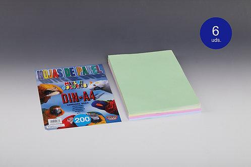 200 Hojas Papel De Colores 80 Gr