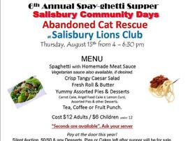 6th Annual Spay-ghetti Supper August 15
