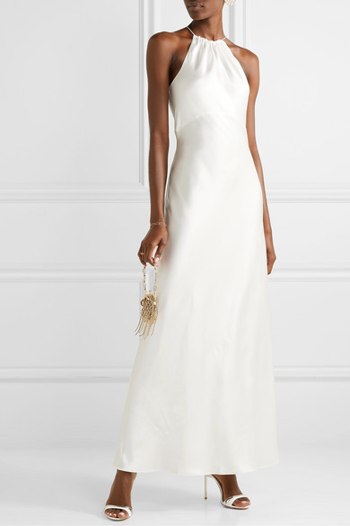 Bride wears minimal silk halter gown cut on the bias from Netaporter.