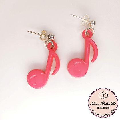 Little Anna roze muzieknootjes oorbellen - zilveren ronde stekertjes