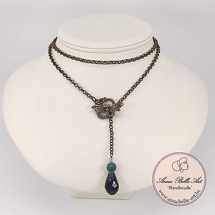 Anna Line druppel SET - Aquamarijn kristal en natuursteen & brons