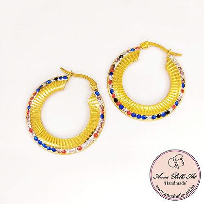 Anna Line gouden ring oorbellen met Swarovski's blauw-rood-roze-diamant
