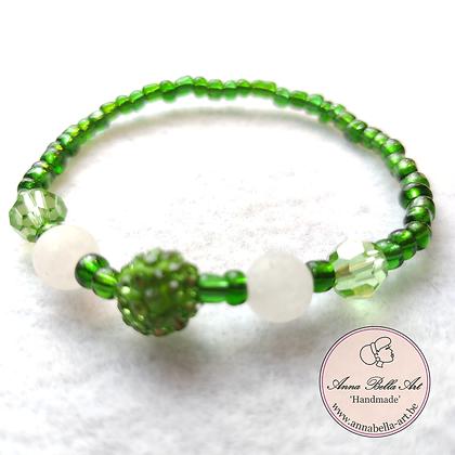Anna Line Armband - Swarovski parel grasgroene met witte natuursteen