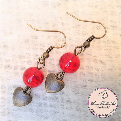 Anna oorbellen - Rood - Glasparel luchtbel - Hart - Brons