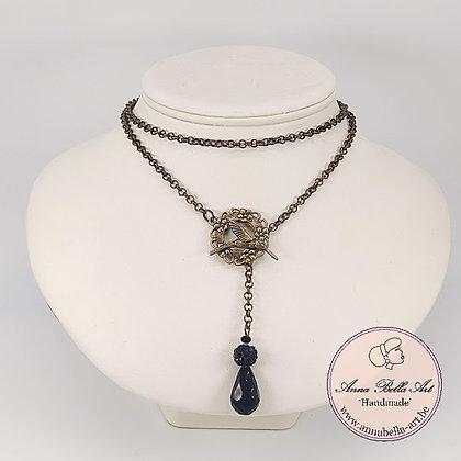 Anna Line druppel SET - Zwart kristal en Swarovskiparel & brons