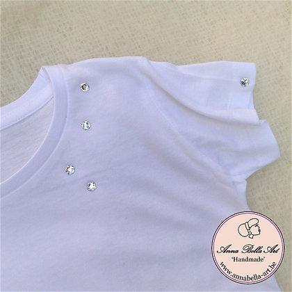 Little Anna T-shirt - Wit met echte Swarovski Diamant