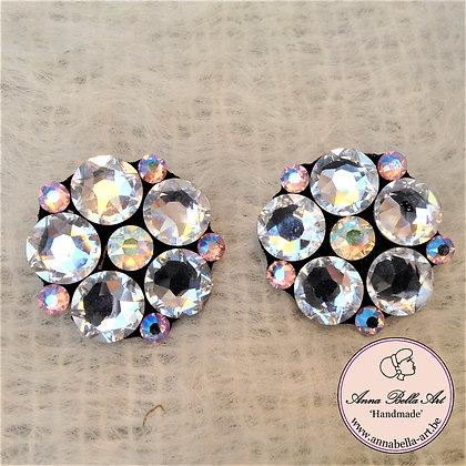 Bella Lisa Bloemoorbellen Swarovski Regenboog & Diamant samen 3 cm