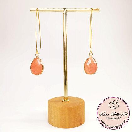 Anna Line natuurstenen oorbellen met lange oorsteker- natuur roze - goud
