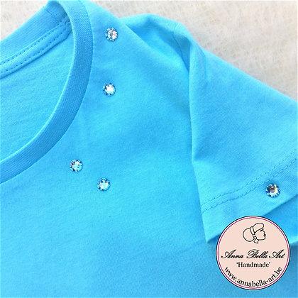 Little Anna T-shirt - Turquoise met echte Swarovski Licht blauw