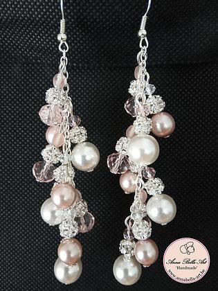 Anna Gudrun SET - Swarovski parel met parelmoer en kristalparel - Wit en roze