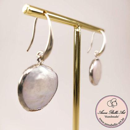 Anna Line zoetwateroorbellen wit - zilver