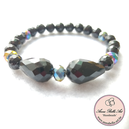 Anna Line Armband - Swarovski kristal - zwart & regenboog