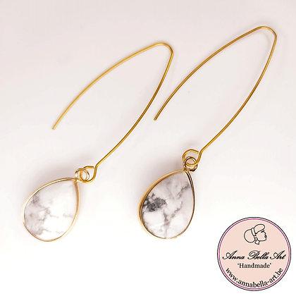 Anna Line natuursteen oorbellen met lage steker - marmer - goud