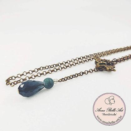 Anna Line druppel libellehalsketting - Aquamarijn kristal en natuursteen - brons