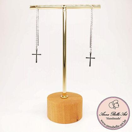Anna Line oorbellen met kruisje  - extra fijn - doorstekertje met kenning-zilver
