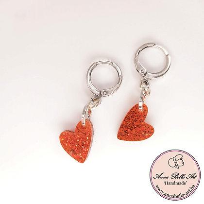 Little Anna rode hartjes oorbellen - zilveren gesloten ringstekertjes