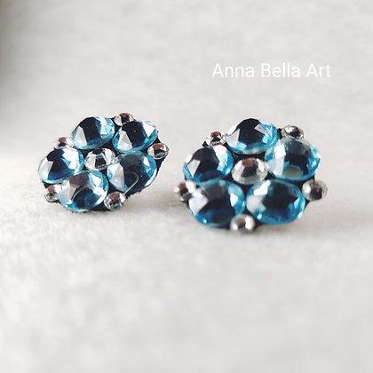 Bella Line - Donna 2cm bloemoorbellen echte Swarovski - Licht blauw & diamant