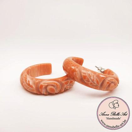 Anna Line met roos hand gegraveerde ring oorbellen - rood