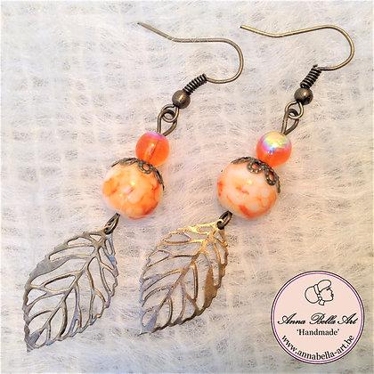 Anna oorbellen - Oranje - Natuursteen - Glasparel - Blad - Brons-