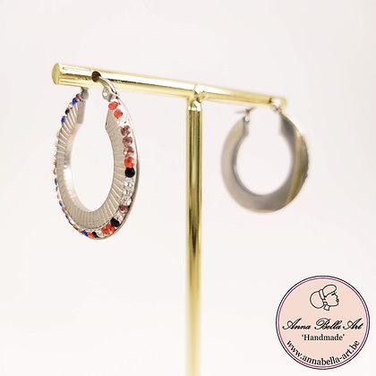 Anna Line  zilveren ringen met Swarovski's blauw-rood-roze-diamant
