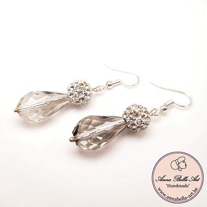 Anna Line oorbellen druppel krystal & Swarovskiparel - zilver