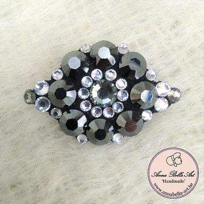 Broche Echte Swarovski - zwart-zilver