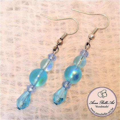 Anna oorbellen - Turquoise - Kristalparel - Zilver