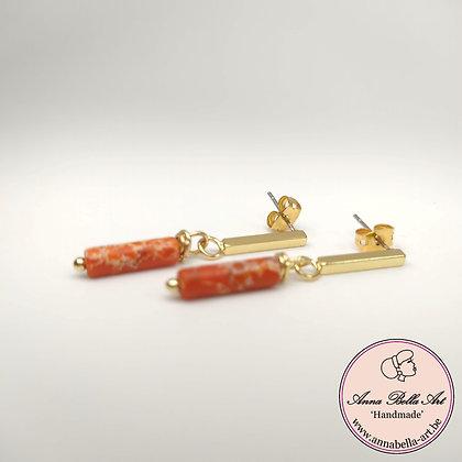 Kopie van Anna Line natuursteen marmer oorbellen - Oranje/rood - Goudkleur