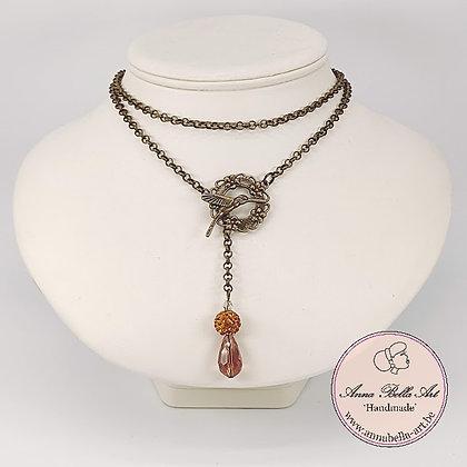 Anna Line druppel SET - Bruin oker kristal en Swarovskiparel & brons