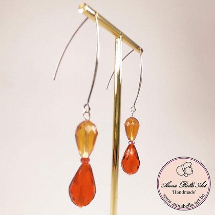 Anna Line oorbellen - krystalparel rood - oker - zilver