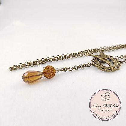 Line druppel libellehalsketting - Bruin oker kristal en  Swarovskiparel & brons