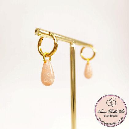 Anna Line natuursteen druppel oorbellen - roze - goud